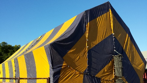 A house being tented for fumigation