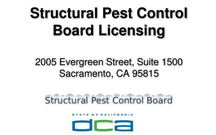 Structural pest control board licensing in California